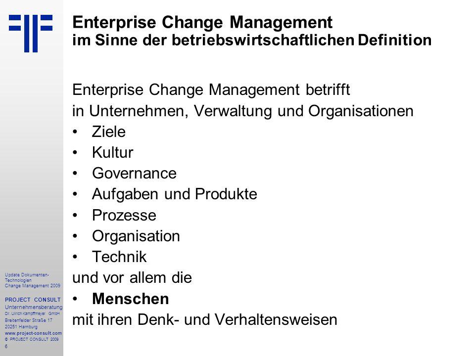 Enterprise Change Management im Sinne der betriebswirtschaftlichen Definition