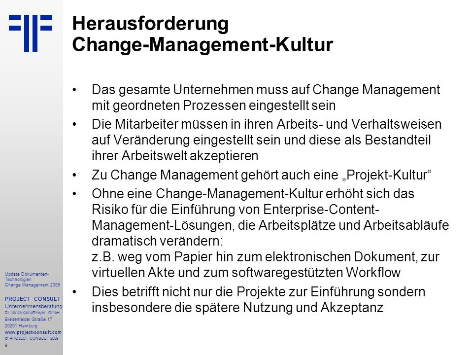 Herausforderung Change-Management-Kultur