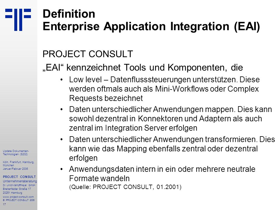 Definition Enterprise Application Integration (EAI)