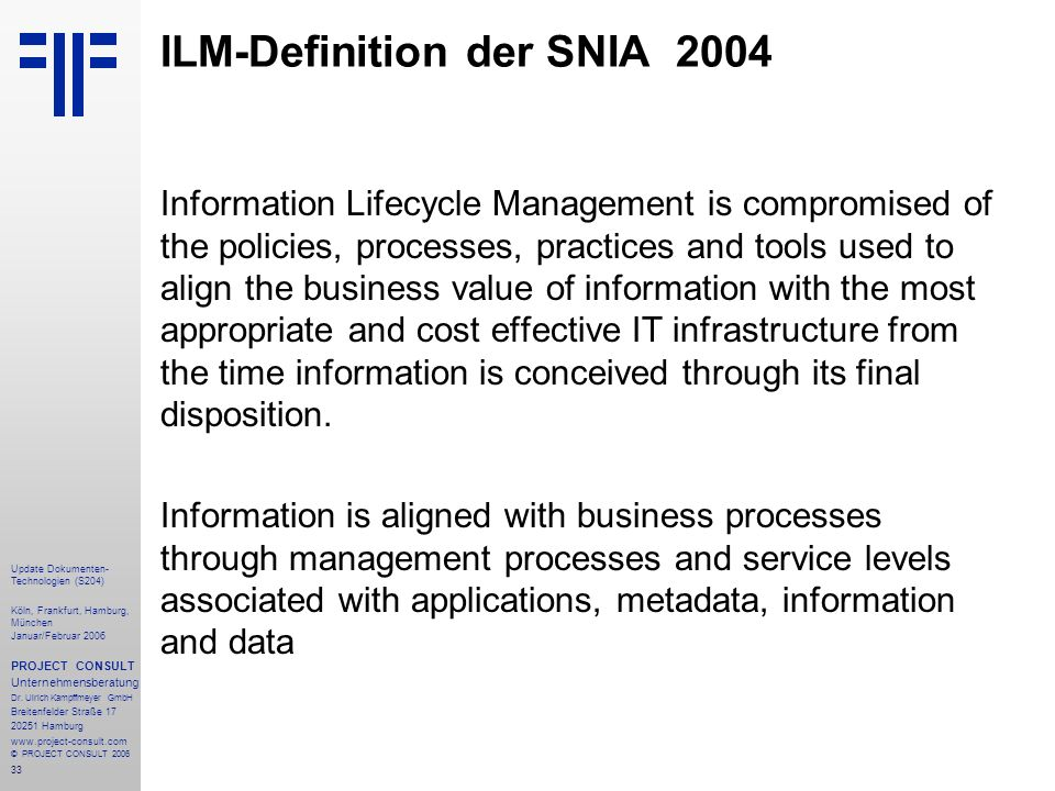 ILM-Definition der SNIA 2004