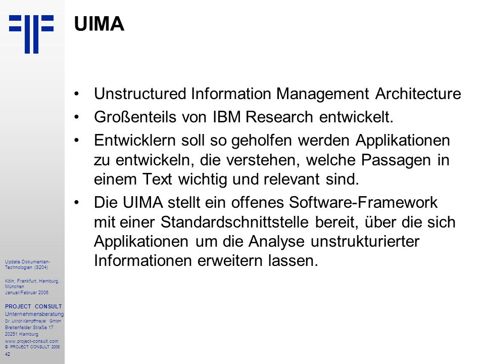UIMA Unstructured Information Management Architecture