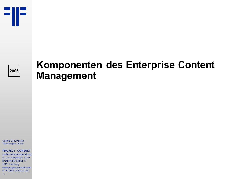Komponenten des Enterprise Content Management