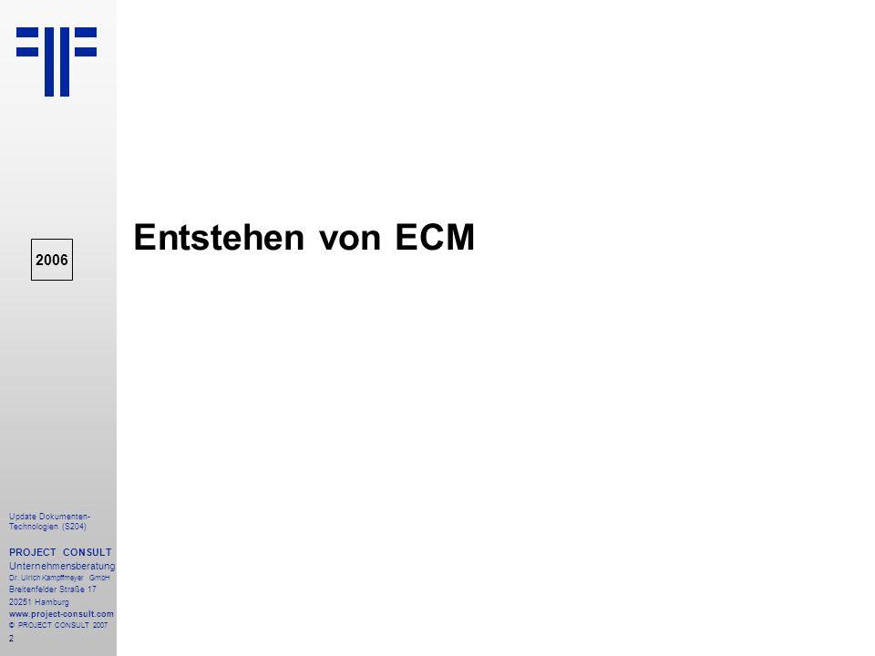 Entstehen von ECM 2006 PROJECT CONSULT Unternehmensberatung