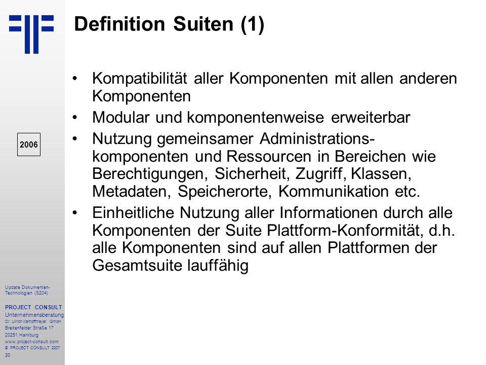 Definition Suiten (1) Kompatibilität aller Komponenten mit allen anderen Komponenten. Modular und komponentenweise erweiterbar.