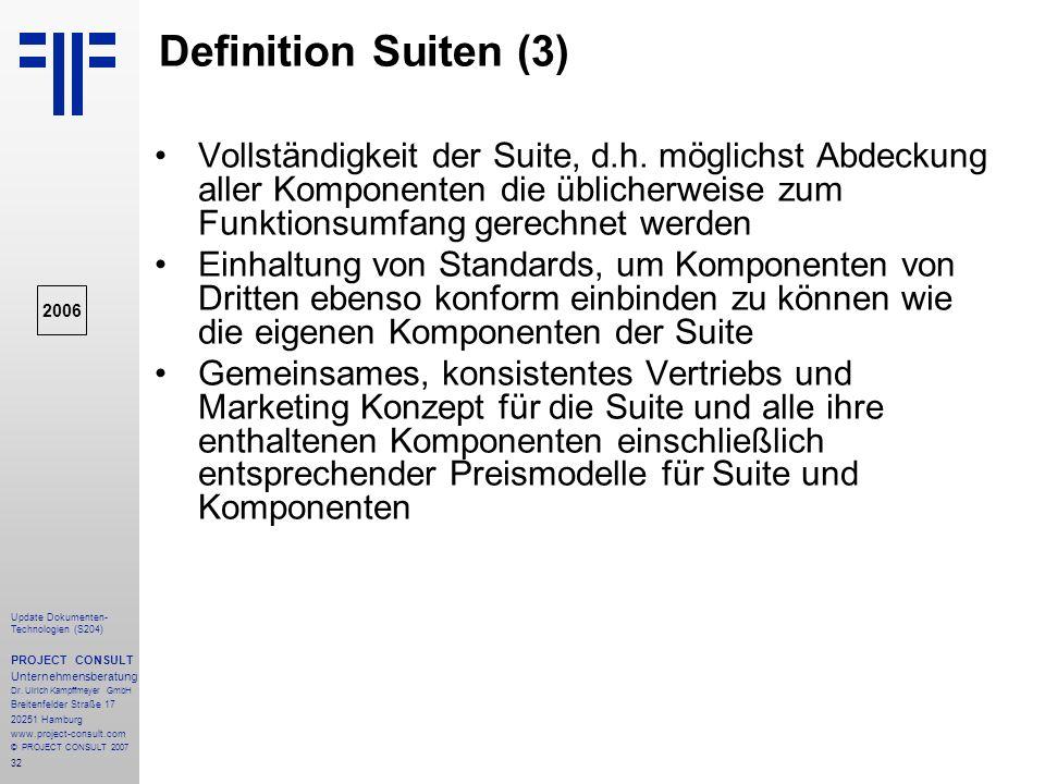 Definition Suiten (3) Vollständigkeit der Suite, d.h. möglichst Abdeckung aller Komponenten die üblicherweise zum Funktionsumfang gerechnet werden.