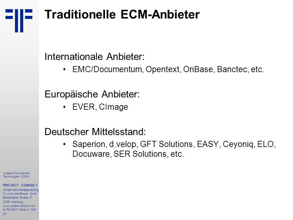 Traditionelle ECM-Anbieter