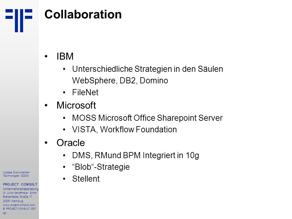 Collaboration IBM Microsoft Oracle
