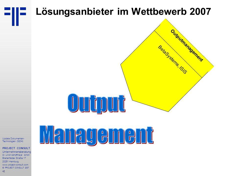 Lösungsanbieter im Wettbewerb 2007