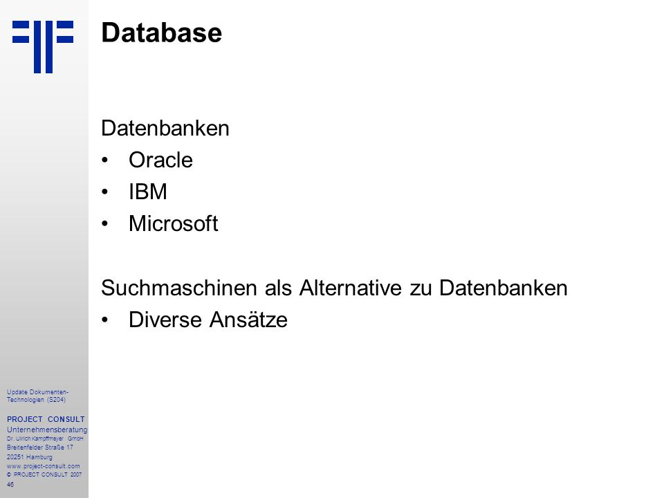 Database Datenbanken Oracle IBM Microsoft