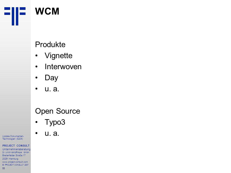 WCM Produkte Vignette Interwoven Day u. a. Open Source Typo3