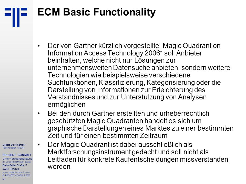 ECM Basic Functionality