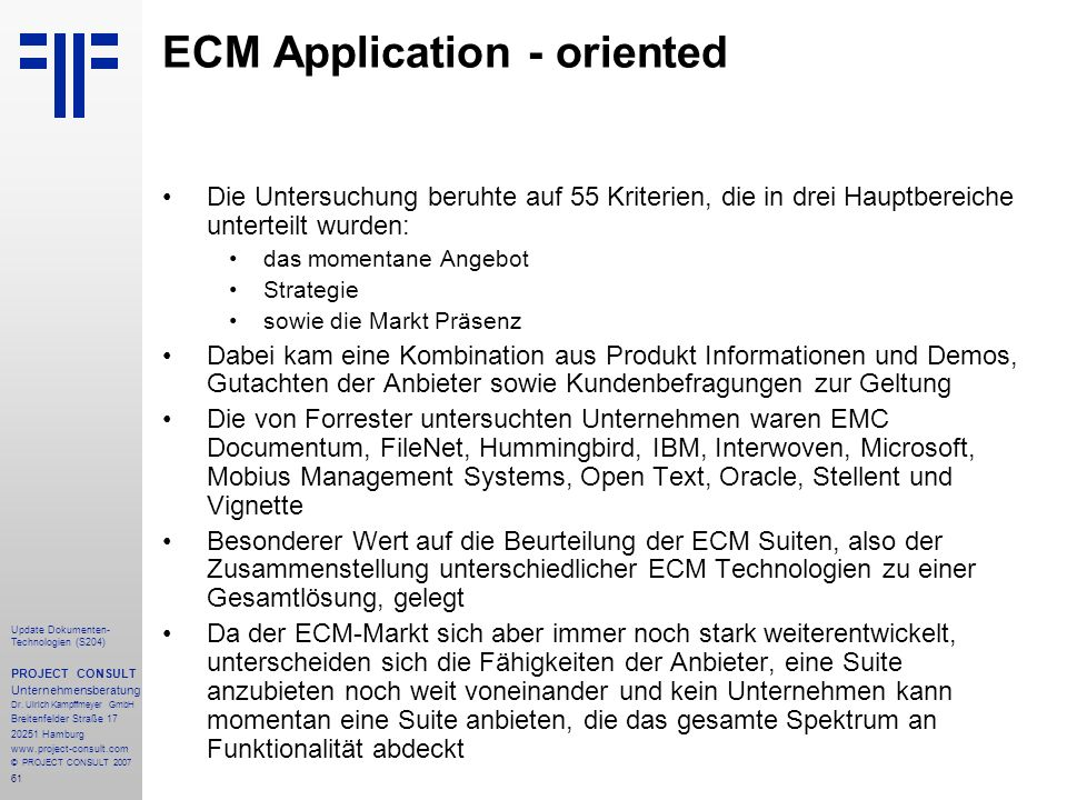 ECM Application - oriented