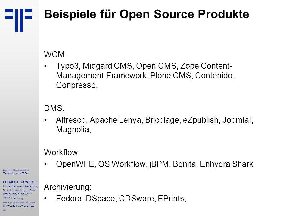 Beispiele für Open Source Produkte