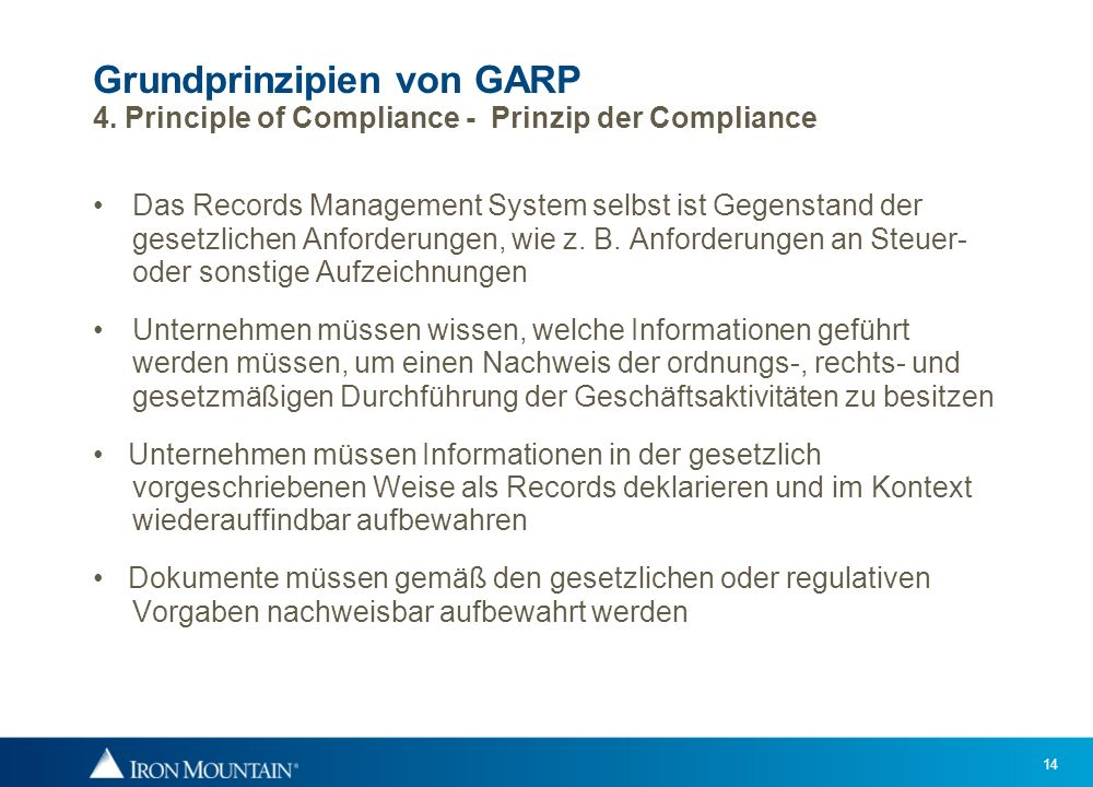 Grundprinzipien von GARP 4