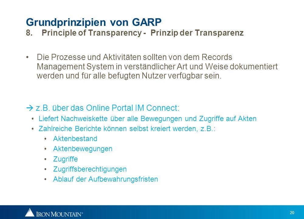 Grundprinzipien von GARP 8