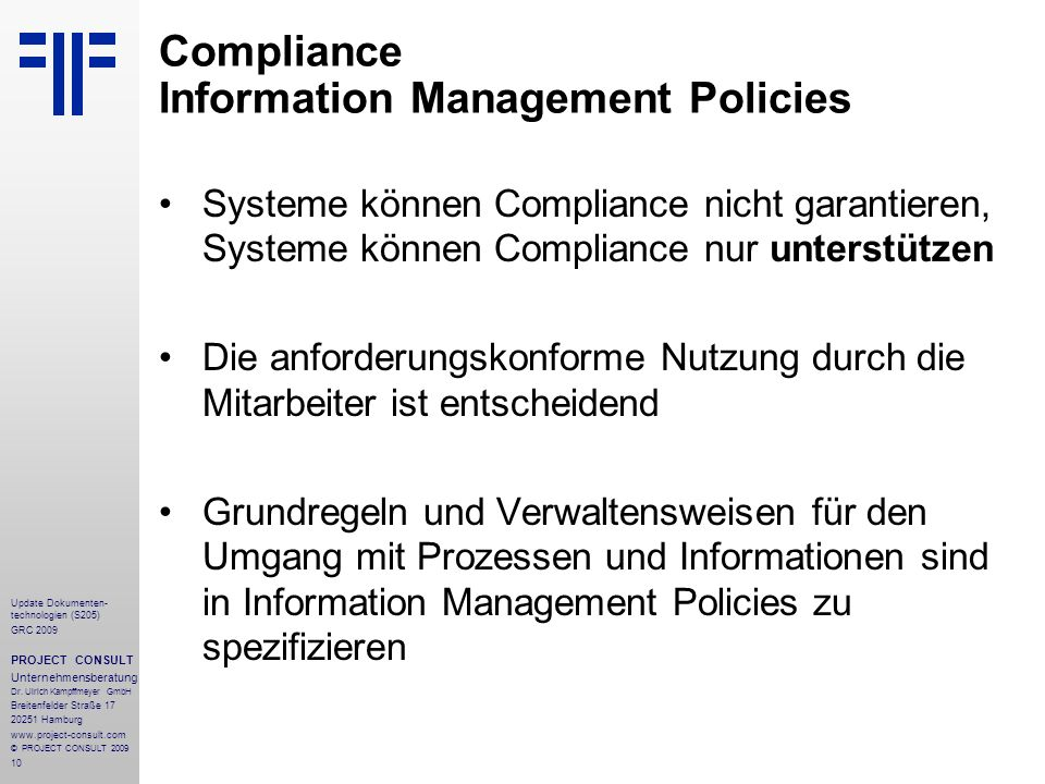 Compliance Information Management Policies