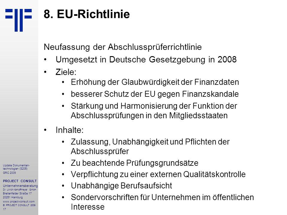 8. EU-Richtlinie Neufassung der Abschlussprüferrichtlinie