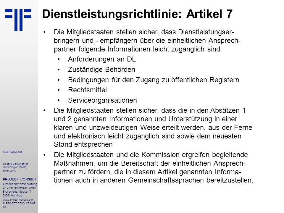 Dienstleistungsrichtlinie: Artikel 7