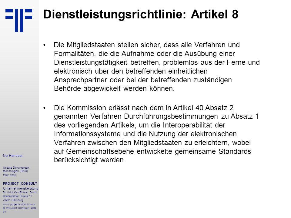 Dienstleistungsrichtlinie: Artikel 8