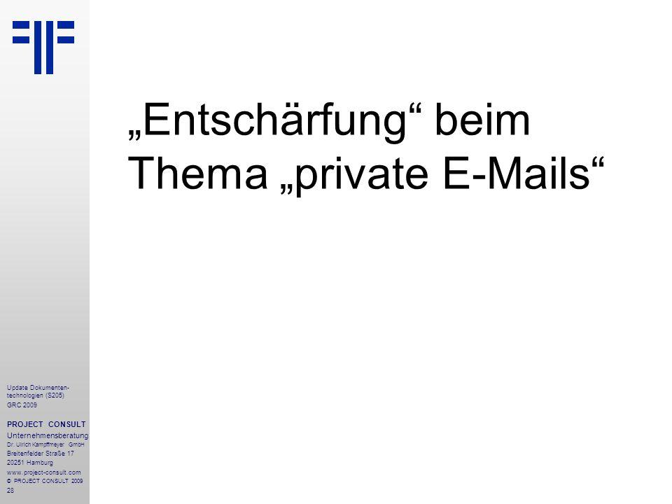 """""""Entschärfung beim Thema """"private E-Mails"""
