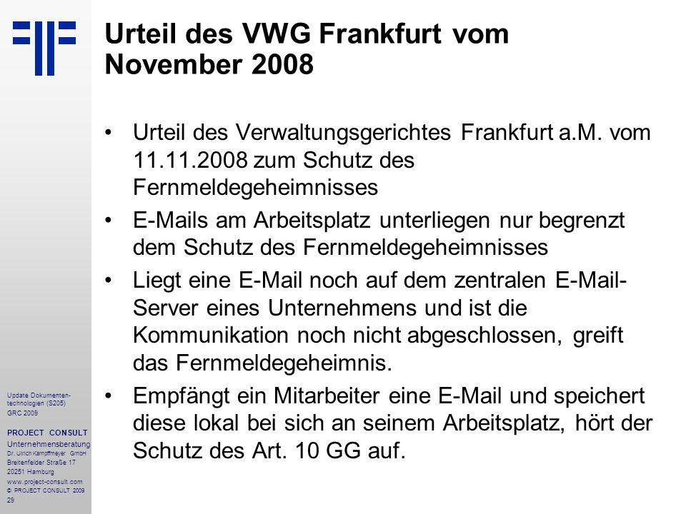 Urteil des VWG Frankfurt vom November 2008