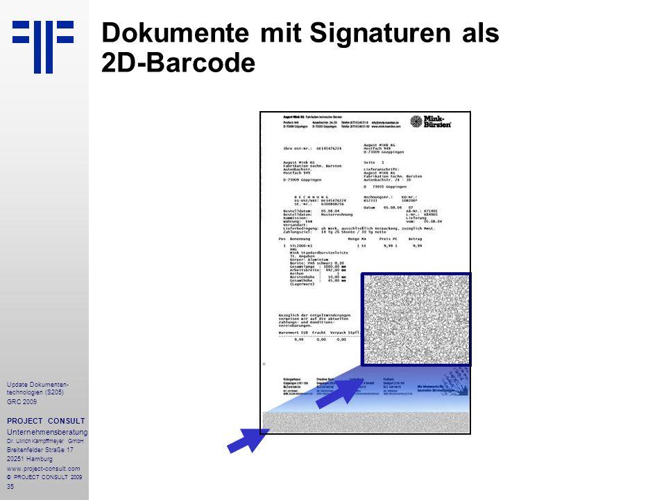 Dokumente mit Signaturen als 2D-Barcode