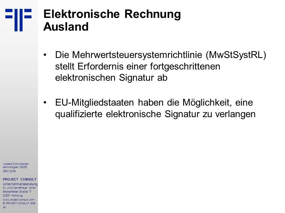 Elektronische Rechnung Ausland