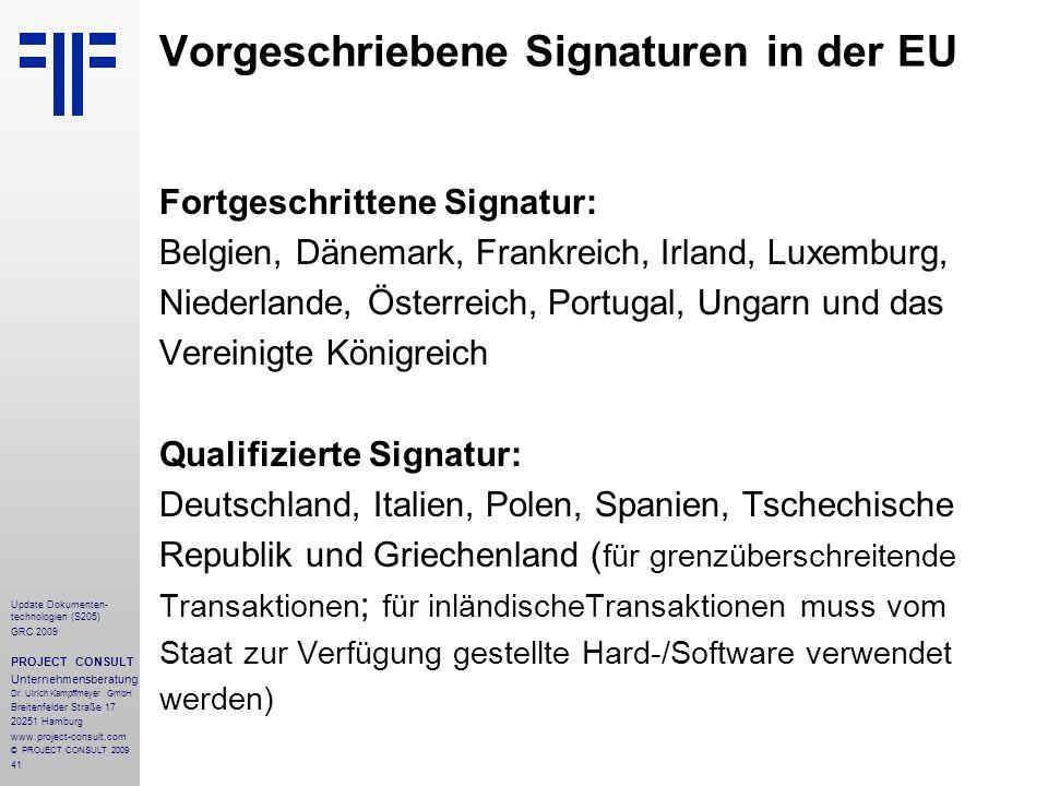Vorgeschriebene Signaturen in der EU