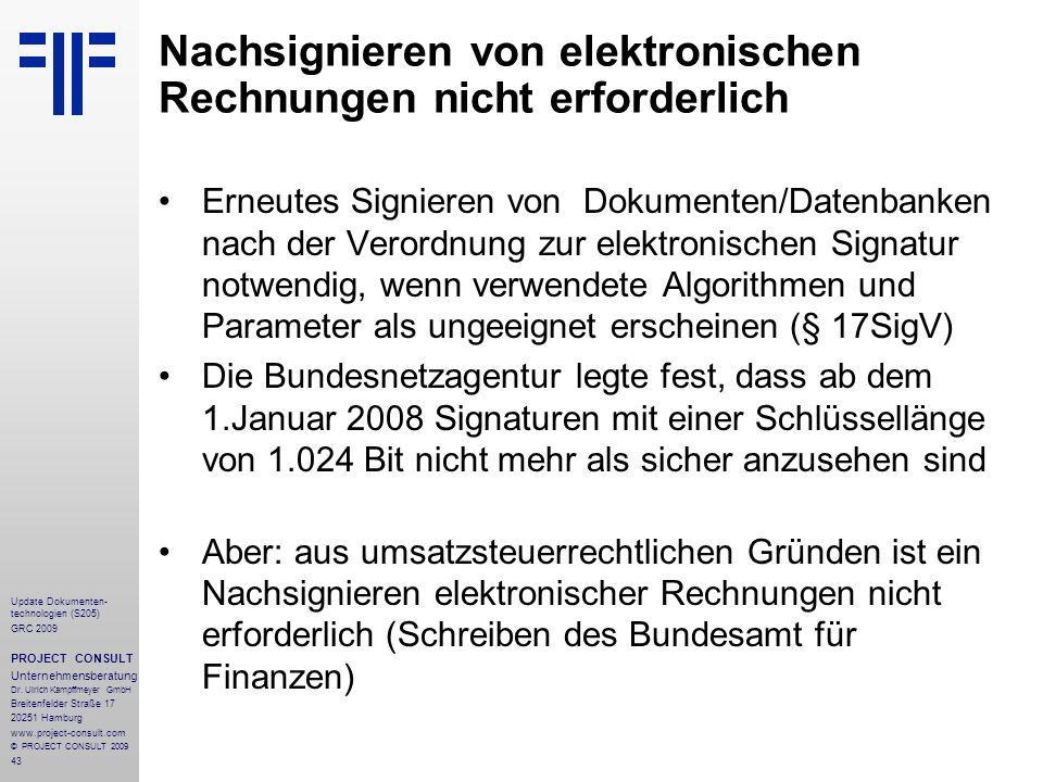 Nachsignieren von elektronischen Rechnungen nicht erforderlich