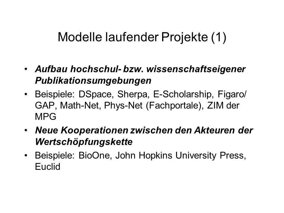 Modelle laufender Projekte (1)