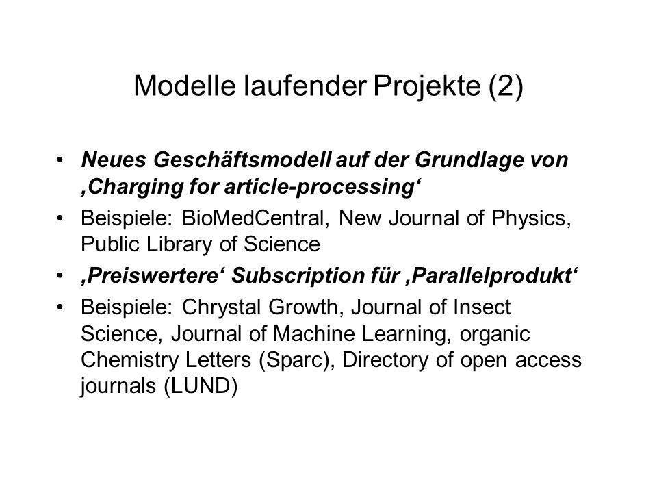 Modelle laufender Projekte (2)