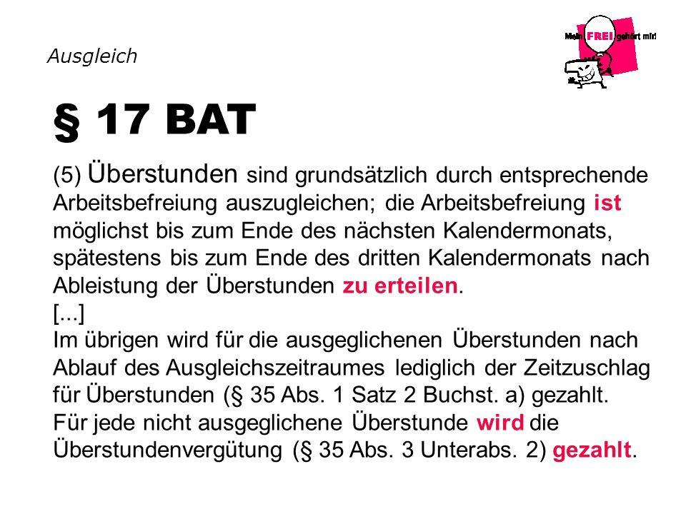 Ausgleich § 17 BAT.