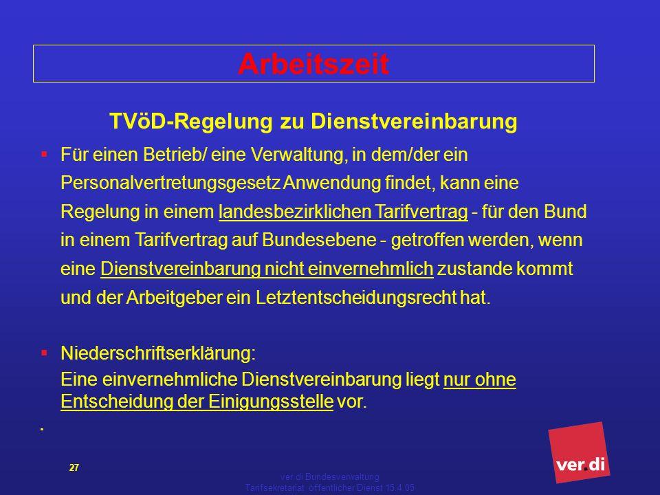 Arbeitszeit TVöD-Regelung zu Dienstvereinbarung