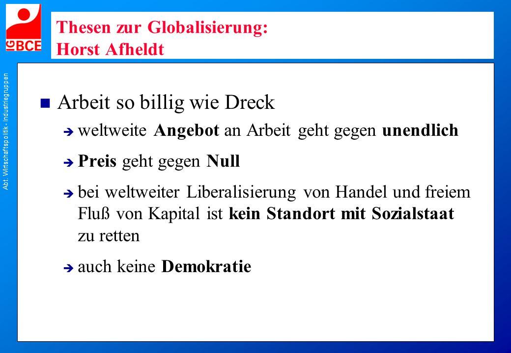 Thesen zur Globalisierung: Horst Afheldt