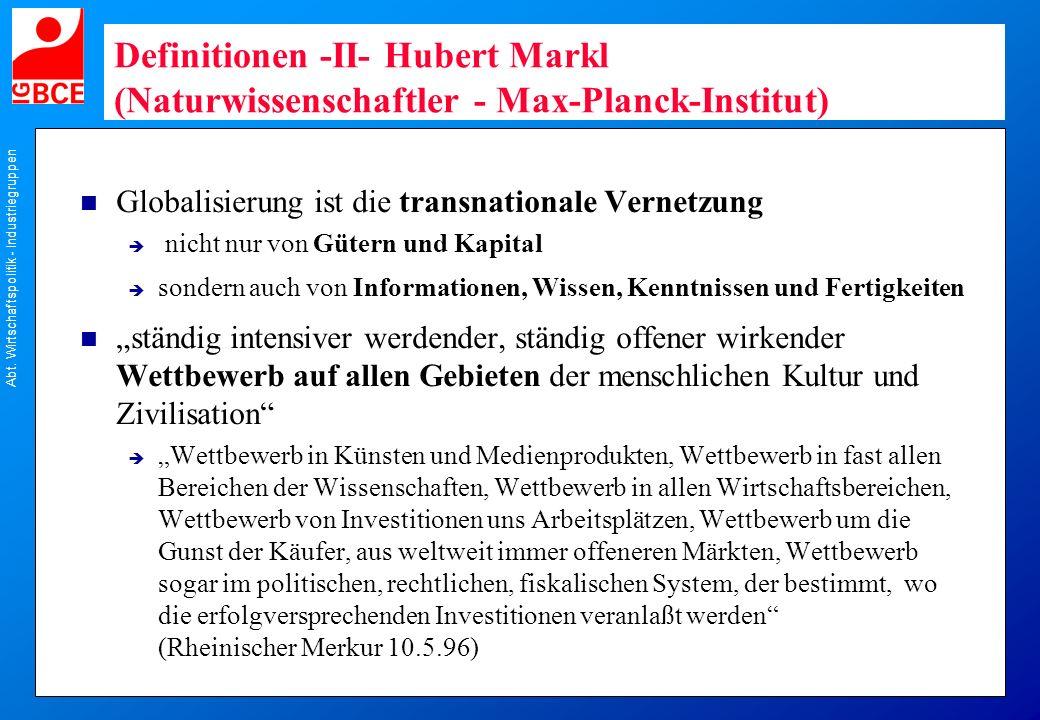 Definitionen -II- Hubert Markl (Naturwissenschaftler - Max-Planck-Institut)