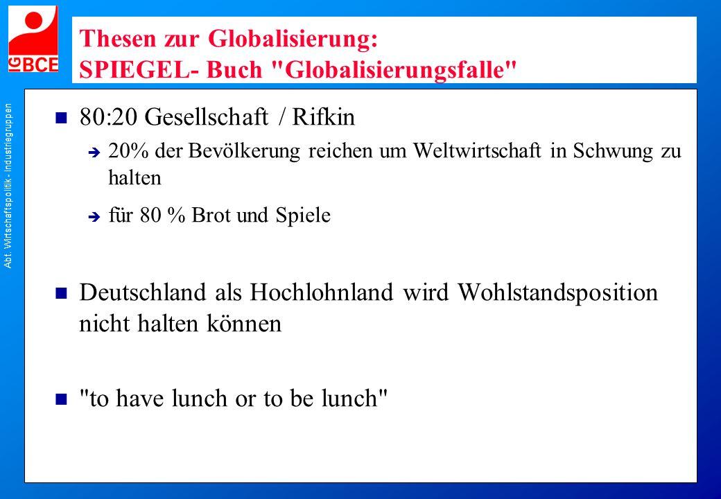 Thesen zur Globalisierung: SPIEGEL- Buch Globalisierungsfalle