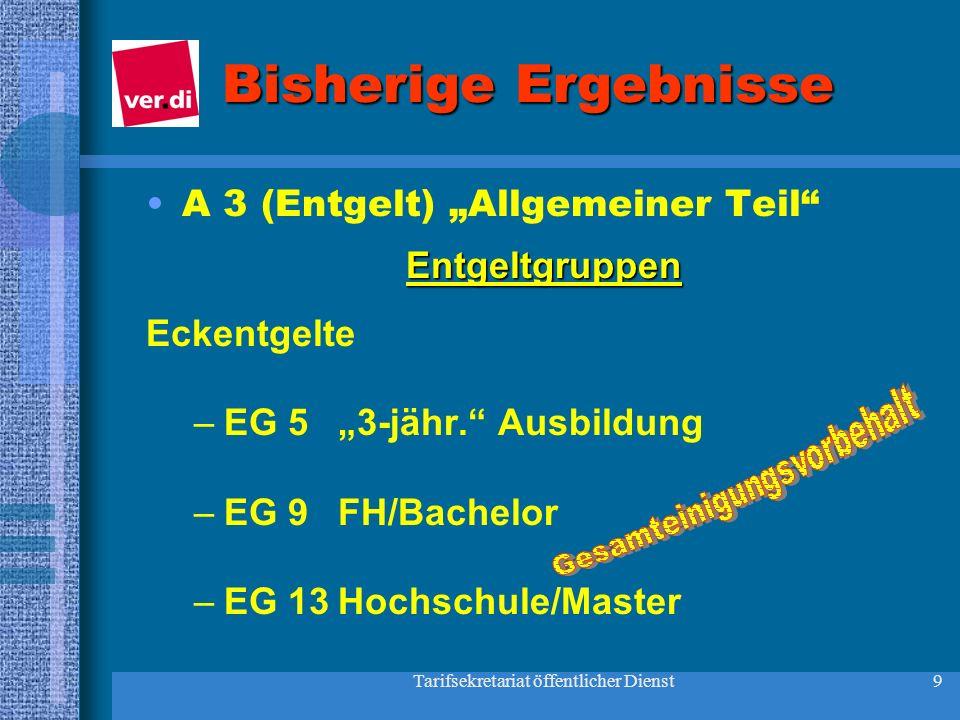 """Bisherige Ergebnisse A 3 (Entgelt) """"Allgemeiner Teil Entgeltgruppen"""