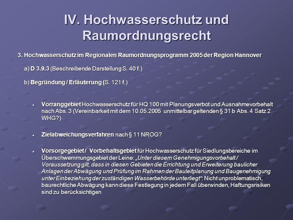 IV. Hochwasserschutz und Raumordnungsrecht