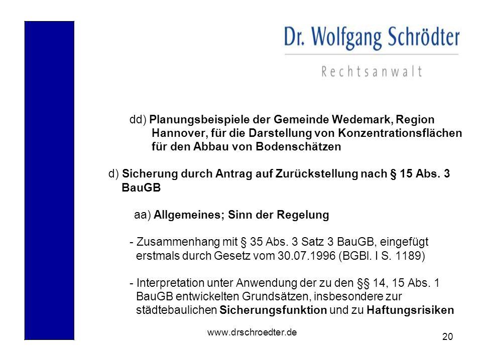 dd) Planungsbeispiele der Gemeinde Wedemark, Region