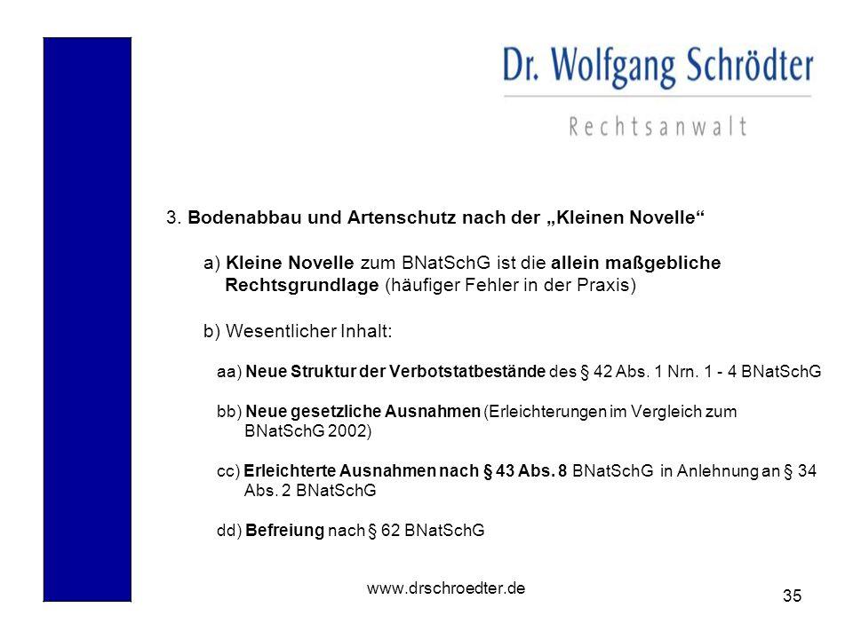 """3. Bodenabbau und Artenschutz nach der """"Kleinen Novelle"""