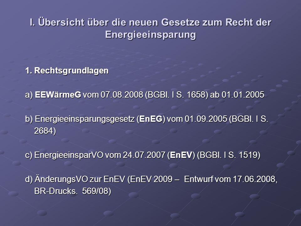 I. Übersicht über die neuen Gesetze zum Recht der Energieeinsparung