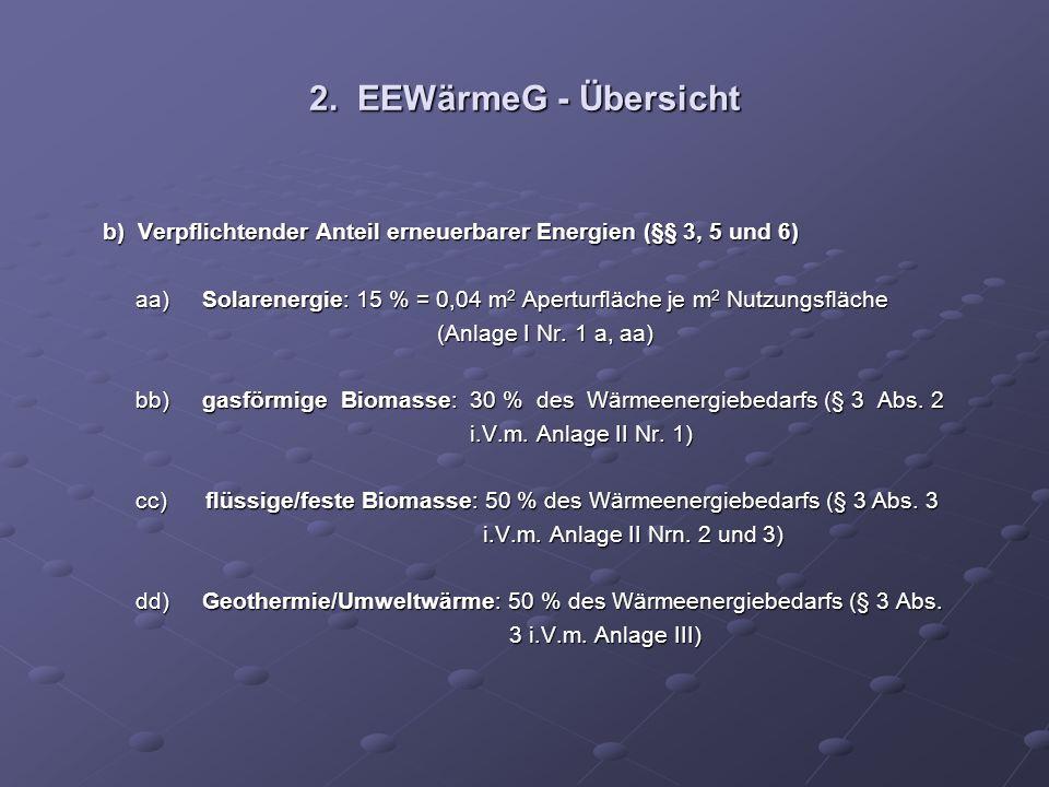 2. EEWärmeG - Übersicht b) Verpflichtender Anteil erneuerbarer Energien (§§ 3, 5 und 6)