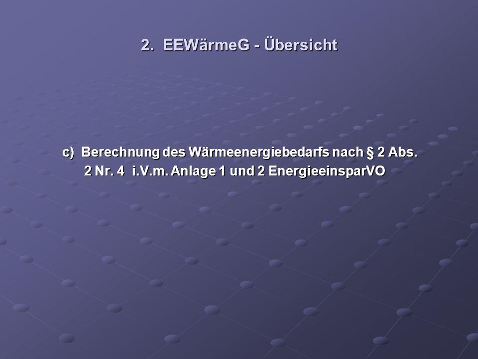 2. EEWärmeG - Übersicht c) Berechnung des Wärmeenergiebedarfs nach § 2 Abs.