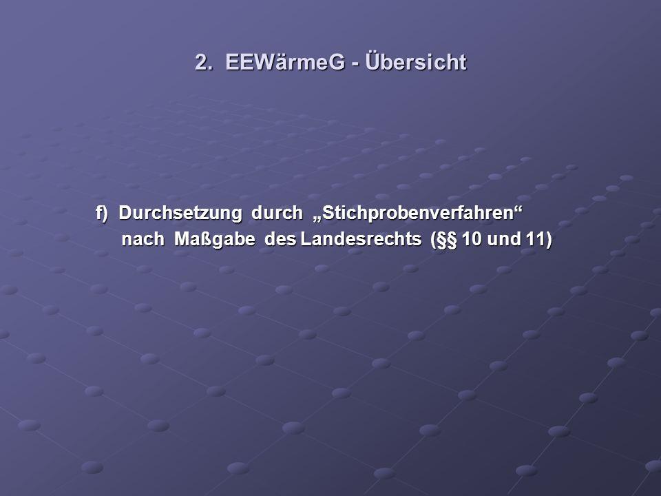 """2. EEWärmeG - Übersicht f) Durchsetzung durch """"Stichprobenverfahren"""