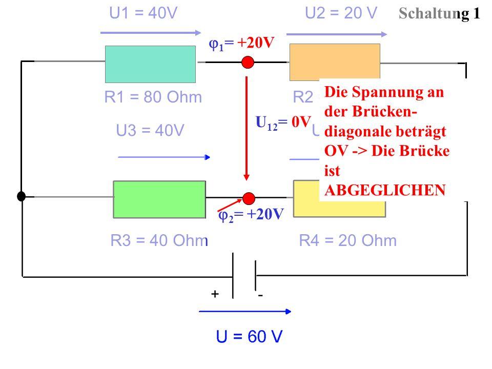 U1 = 40V U2 = 20 V Schaltung 1. 1= +20V. Die Spannung an der Brücken-diagonale beträgt OV -> Die Brücke ist ABGEGLICHEN.