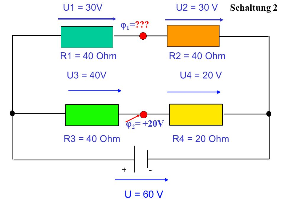 U1 = 30V U2 = 30 V Schaltung 2. 1= R1 = 40 Ohm R2 = 40 Ohm.