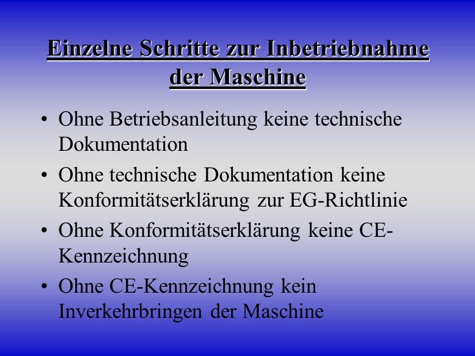 Einzelne Schritte zur Inbetriebnahme der Maschine