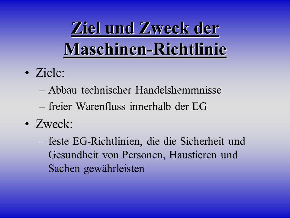 Ziel und Zweck der Maschinen-Richtlinie
