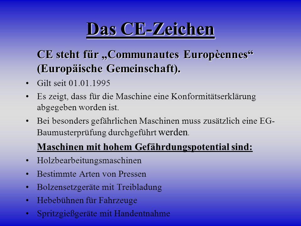 """Das CE-Zeichen CE steht für """"Communautes Europèennes (Europäische Gemeinschaft). Gilt seit 01.01.1995."""