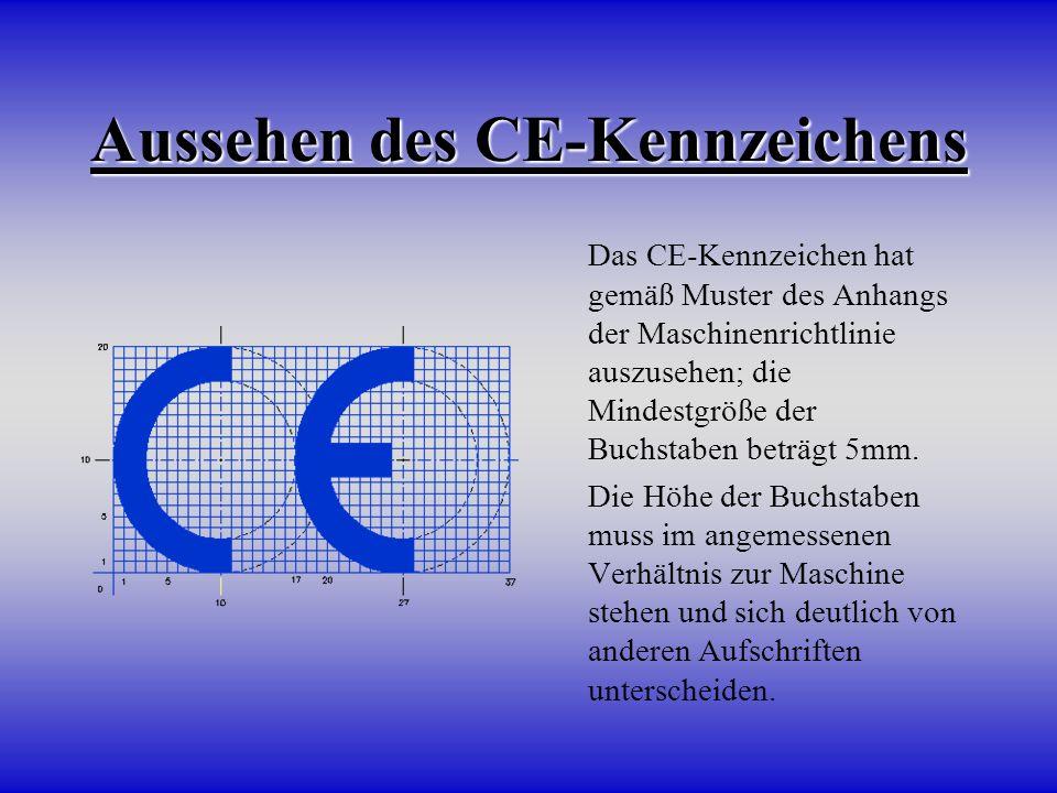 Aussehen des CE-Kennzeichens